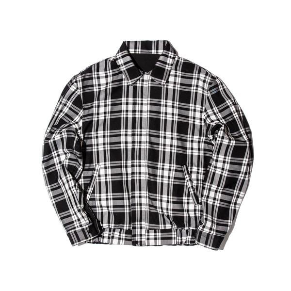 REVERSIBLE PLAID BLOUSON (BLACK)