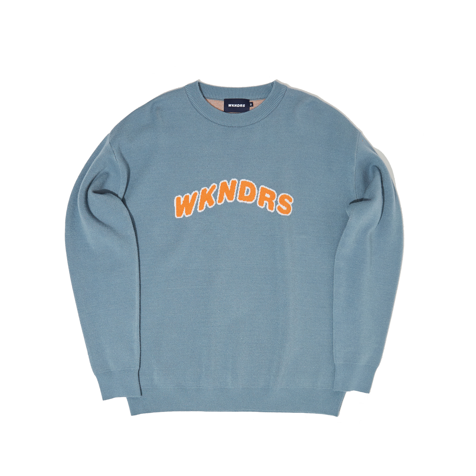 WAVY LOGO KNIT SWEATSHIRT (S.BLUE)
