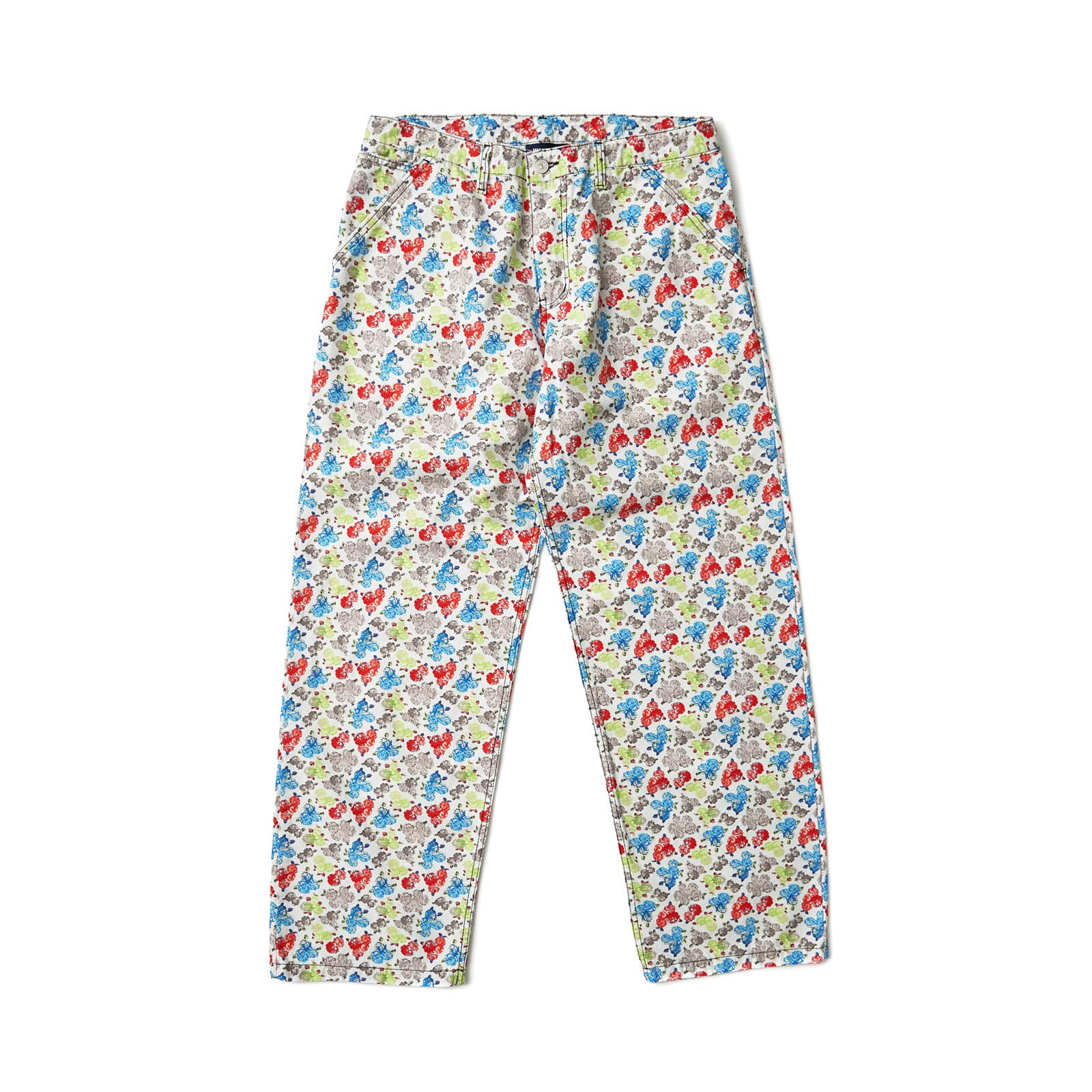 FLORAL OXFORD PANTS (WHITE)